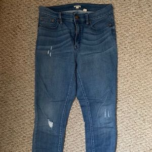 J. Crew High Rise Skinny Distressed Denim